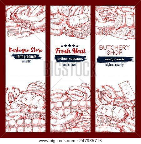 Meat And Sausage Sketch Banners. Vector Design Of Beef And Pork Salami, Bacon, Ham Chorizo And Frank