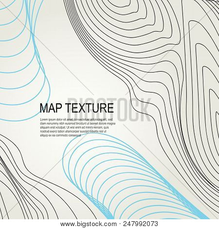 Topographical Terrain Map With Line Contours