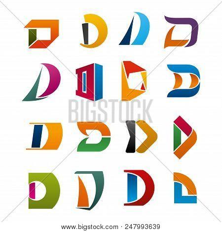 Alphabet Font Of Letter D Symbol Set For Modern Business Card Or Branded. Company Branding Symbol Of
