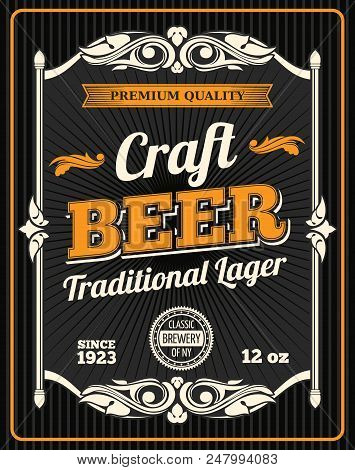 Craft Beer Retro Poster For Draught Beer Bar Or Sport Pub And Oktoberfest Design. Vector Beer Produc