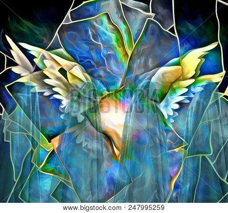Wings. Abstract painting. 3D rendering