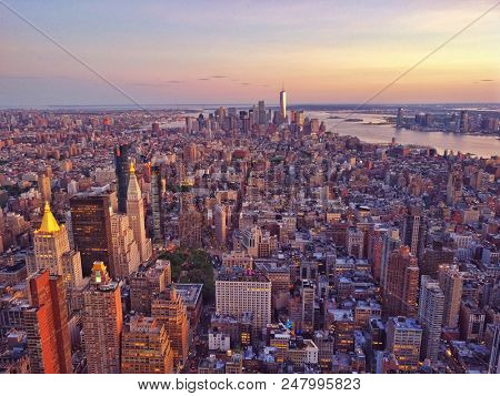 aerial view over lower manhattan on a sunny day, new york city