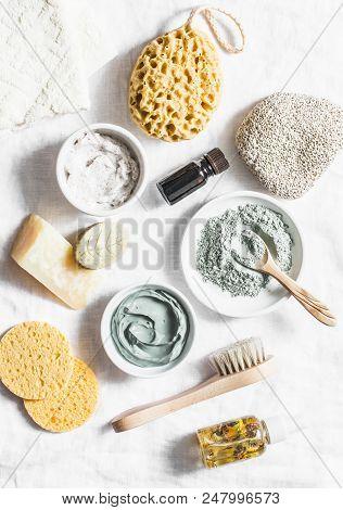 Spa Accessories - Nut Scrub, Sponge, Facial Brush, Natural Soap, Clay Face Mask, Pumice Stone, Essen