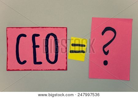 Conceptual Hand Writing Showing Ceo. Business Photo Text Chief Executive Officer Head Boss Chairpers