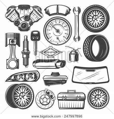 Auto Spare Parts And Instruments Sketch For Car Mechanics. Vector Set Of Motor Engine, Motor Oil Or