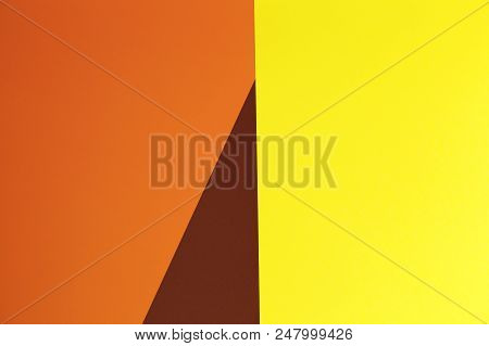Yellow, Brown And Orange Background. Colorful Texture. Minimal Concept. Creative Concept. Pop Art. B