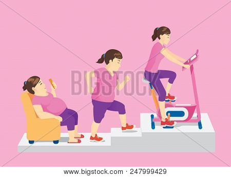 Fat Woman Using Smartphone On Sofa Change Her Body With Rise Up For Exercise Stationary Bicycle. Con