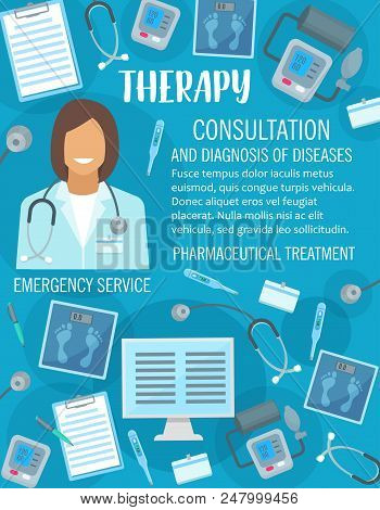Medical Therapy And Doctor Consultation Poster For Clinic Or Healthcare Center. Vector Design Of Med