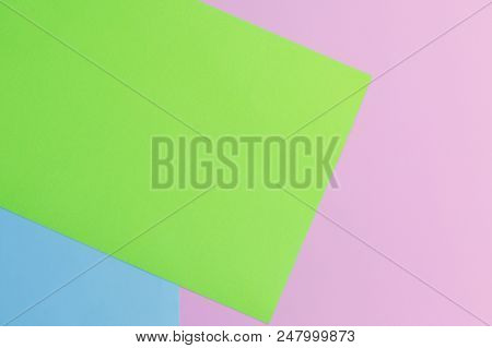 Soft Pink, Green And Blue Paper As Texture Background. Minimal Concept. Creative Concept. Pop Art. B