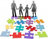 Puzzle pieces symbols of problems facing broken family and solution poster