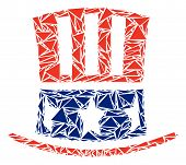 Uncle Sam hat mosaic of triangle items in variable sizes and shapes. Vector polygons are organized into Uncle Sam hat illustration. Geometric abstract vector illustration. poster