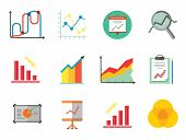 Graph Icon Set. Magnifier And Graph Growing Bar Chart Declining Bar Chart Venn Diagram Clipboard Flipchart With Graph Smart Board Histogram Line Graph Computer With Histogram Projection Screen Chart poster