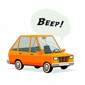 Beeping cartoon car. Flat style orange car on white background. Vecror illustration. poster
