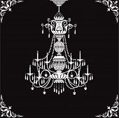Abstract crystal chandelier and ornate corners over black background poster