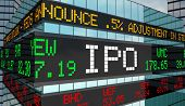 IPO Initial Private Offering Stock Market Ticker Building 3d Illustration poster