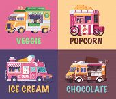 City fast food trucks and wagons set in flat design. Ice cream parlor, chocolate truck, popcorn car and veggie juice caravan backgrounds. Street food festival posters. poster