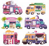 City fast food trucks and wagons set in flat design. Ice cream parlor, coffee van, beach bar, popcorn cart and summer juice caravan. Street food festival cars with drinks and snacks on wheels. poster