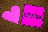 Handwriting text writing Exception. Concept meaning Person or thing that is excluded from general statement Different Cork background pink paper papers ideas messages heart love lovely inspire poster