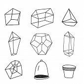 Geometrical terrarium doodle pots hand drawn illustration. poster
