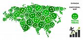 Joy Eurasia map mosaic of smile emojis in green shades. Positive thinking vector template. Eurasia map is composed from green joy icons. Abstract territory plan. poster