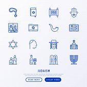 Judaism thin line icons set: Orthodox jew, star of David, sufganiyot, hamsa, candles, synagogue, skullcap, rosary, Western Wal, Tanakh. Modern vector illustration. poster