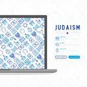Judaism concept with thin line icons: Orthodox jew, star of David, sufganiyot, hamsa, candles, synagogue, skullcap, rosary, Western Wal, Tanakh. Modern vector illustration, template for web page. poster