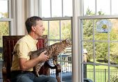 Senior man with bengal cat watching chickadee bird on birdfeeder from chair poster