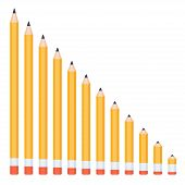 Pencils of different lengths, arranged in order of decreasing the length (linear). Vector illustration poster