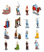 Medieval isometric icons with royal persons knights torture scene priest and blacksmith isolated vector illustration poster