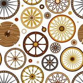 Carriage vector vintage transport old wheels and antique transportation illustration set of royal coach and chariot or wagon for traveling seamless pattern background. poster