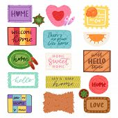 Home mat vector welcome doormat in front of house entrance and doorway matting rug for visitors illustration household set of homecoming enter decoration isolated on white background. poster