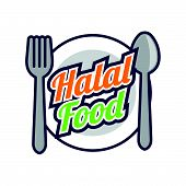 halal (permissible) food logo for Muslim Products. vector illustration poster