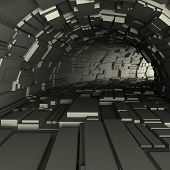 3d render of a tunnel with cubic protrusions from the walls poster