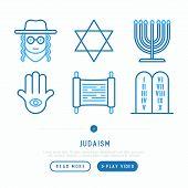Judaism thin line icons set: Orthodox jew, star of David, sufganiyot, hamsa, candles. Modern vector illustration, web page template. poster