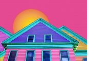 multi-colored house with sun poster