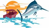 Vector art of a Swordfish Swordfish with boat in the background poster