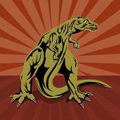 Vector art of a T-rex dinosaur retro style poster