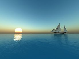 Sailing at sunset - digital artwork