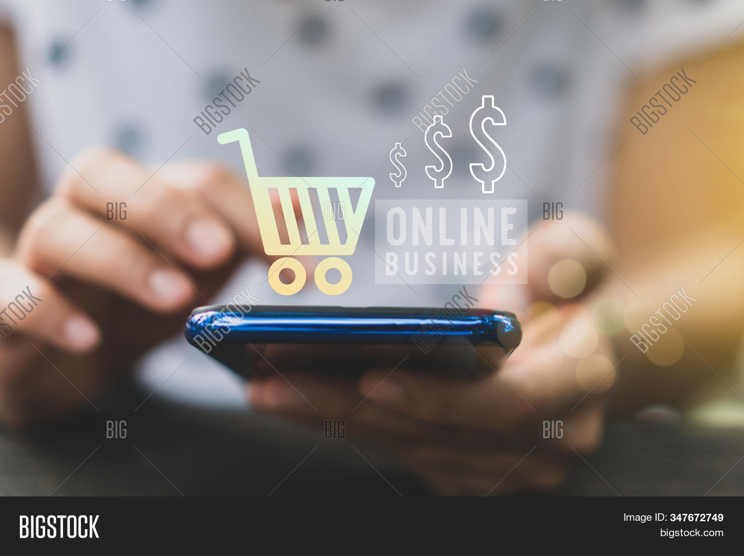 Women Hand Using Smartphone Do Online Business Or Shopping Online In Black Friday With Cart, Dollar