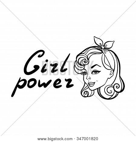 Coloring Page Outline, Cute Pinup Girl With Text Girl Power Isolated On White Background Illustratio