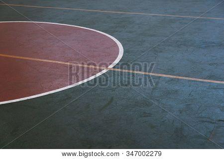 Dark Green Sport Gymnasium Floor Texture With Red Circle Background