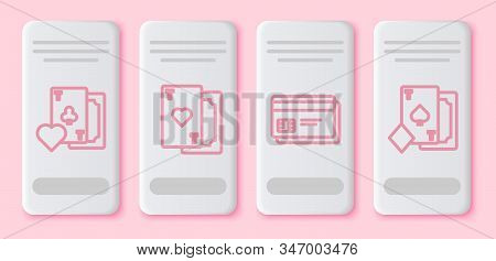 Set Line Playing Card With Clubs Symbol, Playing Card With Heart, Credit Card And Playing Card With