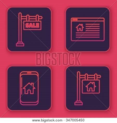 Set Line Hanging Sign With Text Sale, Mobile Phone With Smart Home, Hanging Sign With Text Online Sa