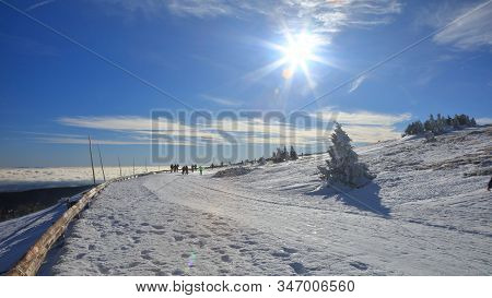 Cross Country Skiing Track On A Snowy Mountain Road Above Clouds On A Sunny Inversion Day, Praded, J