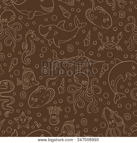 Seamless Pattern With Sea Creatures, Funny Contour Cartoon Animals ,beige Outline On A Brown Backgro