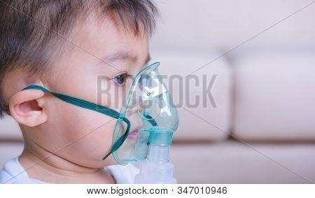 Closeup Asian Face Little Children Boy Sick He Using Steam Inhaler Nebulizer Mask Inhalation Oneself