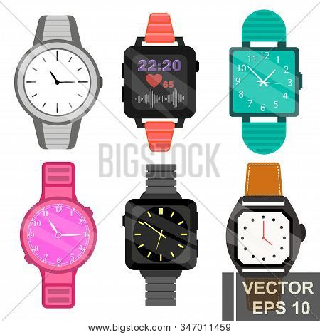 Set Of Watches In Flat Style. For Your Design. Modern. Smart Watch.