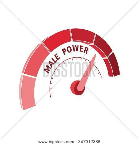 Scale With Arrow. The Male Power Level Measuring Device Icon. Sign Tachometer, Speedometer, Indicato