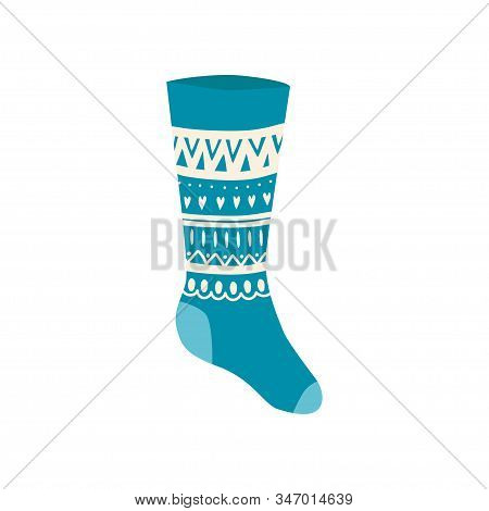 Colored Christmas Sock In Hand Drawn Style Isolated On White Background. Illustration Of Sock With S