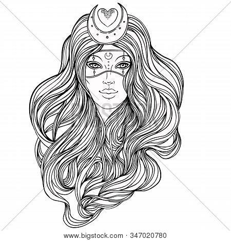 Moon Princess. Tribal Fusion Boho Diva. Beautiful Divine Girl With Crescent Tiara And Venetian Mask.